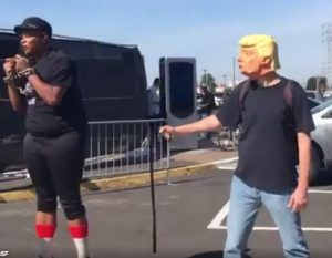 At Raiders game yesterday: HELL NO! To Trump's Attacks on Black Athletes