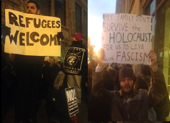 Outside homeland security in Chicago - Standing with Refugees