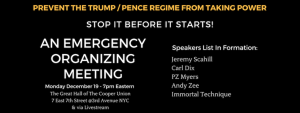 Refuse Fascism - Stop Trump - December 19 Emergency Meeting Cooper Union