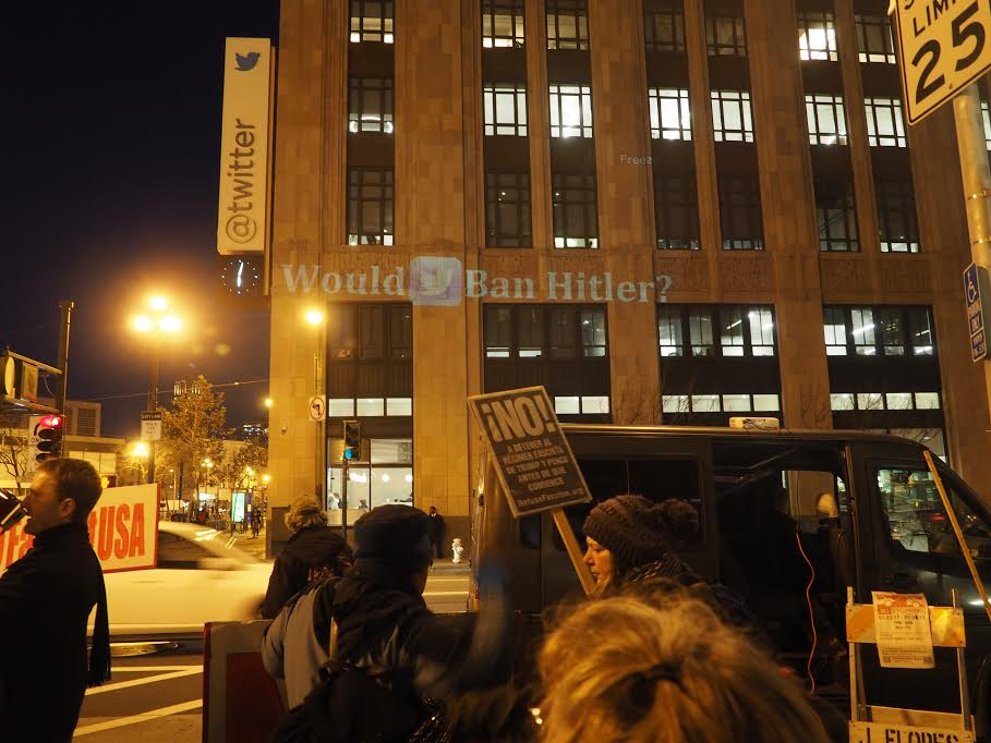 At Twitter Headquarters: Stop Giving Voice to a Fascist